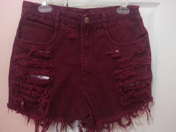 Burgundy High Waisted Shorts - The Else