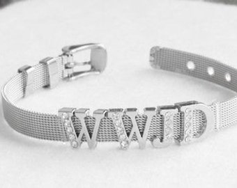 WWJD What Would Jesus Do  Stainless Steel Mesh Silver Bracelet