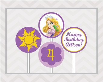 Rapunzel Cupcake Toppers - Rapunzel Party Circles - Tangled Cupcake Toppers - DIY Cupcake Toppers - Printable Party Circles