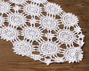 Oval crochet doily Hand crocheted doilies lace tablecloths White table decoration Home Decor