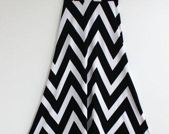 Clearance SALE Black and White Chevron Maxi Skirt Dress Causal Maxi Dress Long Dress Summer Maxi Dress