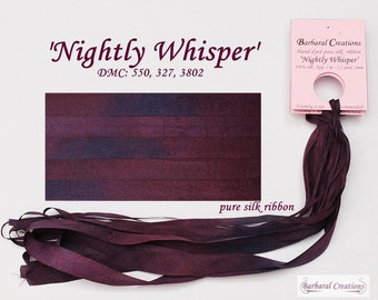 Hand dyed 4 mm pure silk ribbon, soie de ruban - 'Nightly Whisper'