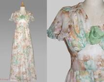 70s Vintage Flower Power bridal dress, Boho bridal gown, Hippie wedding dress