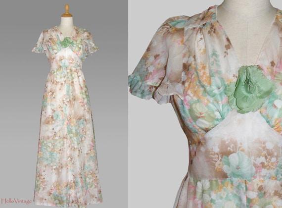 ... Vintage Flower Power Brautkleid, Boho Brautkleid, Hippie Brautkleid
