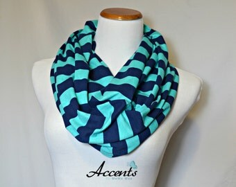 Navy Blue and Deep Mint Stripe Infinity Scarf