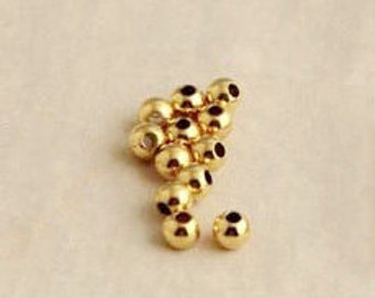 Spacer Beads -50pcs 14k Gold-plated Round Ornate Beads Jewelry Findings 6mm