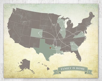 United States Map, US Map, Travel Map, Push Pin Map, Long Distance Map, Custom Map