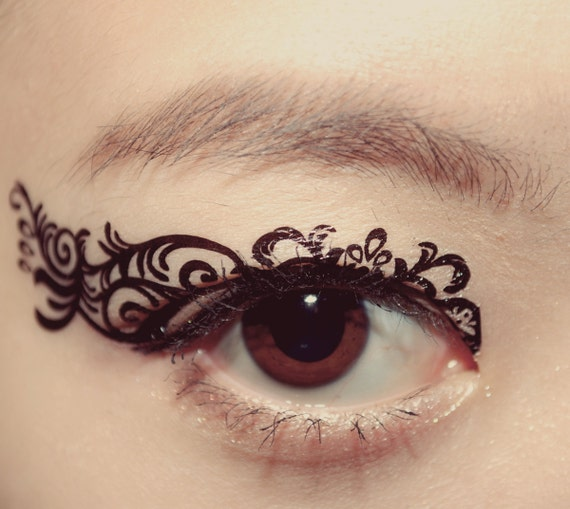 1 pair eye temporary tattoo makeup eyeshadow black crown for Eye temporary tattoo makeup