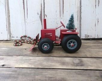 Enesco Toy Tractor Red Metal Tractor 1987