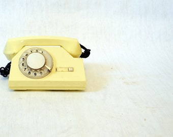 SALE Vintage Rotary Telephone White  phone Soviet Vintage USSR  Industrial Office supply movie requisite Steampunk