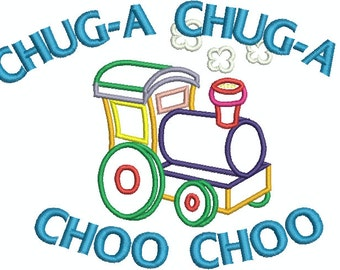 Chug-a  Chug-a Choo Choo Applique and fill Machine Embroidery Design