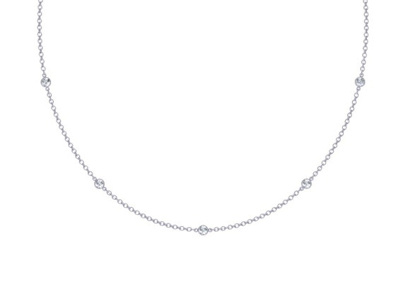Diamonds Station Necklace With 9 Stations 0.45 ct. tw.