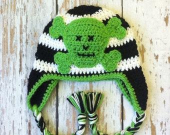 Skull crochet hat baby 0-2T