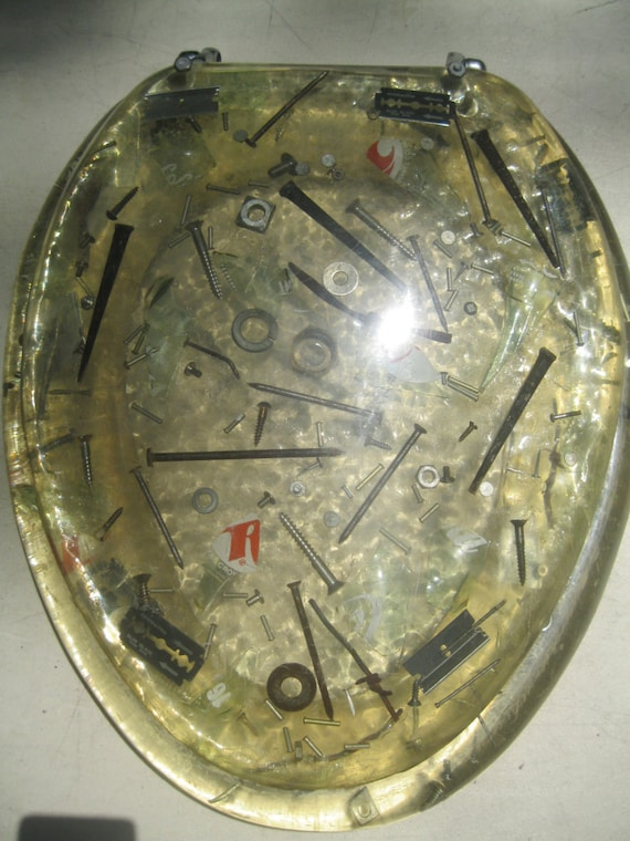 Mid Century 1950 Lucite Toilet Seat Wicked Bad Man Cave Broken