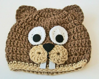 Adorable Brown and Tan Beaver Hand Crocheted Baby and Childrens Hat Great Photo Prop 5 Sizes Available