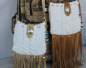 Cross Body Bag SIERRA cotton knitted and Leather
