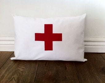 Red cross pillow cover 12x18, white cotton pillow, decorative throw pillow