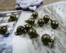 50pcs Bronze  6.5mm Rhodium Plated Bell Charms Pendants--bell Charms