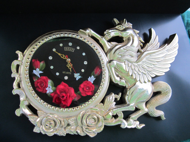 Vintage Unicorn Wall Clock Winged Unicorn Wall Clock