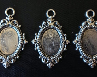 3pcs Antique Silver Pendant Frame Settings for 18x13mm Cameos Cabochons