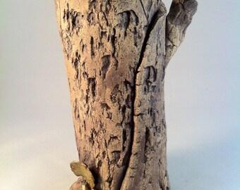 Stoneware hollow log vase