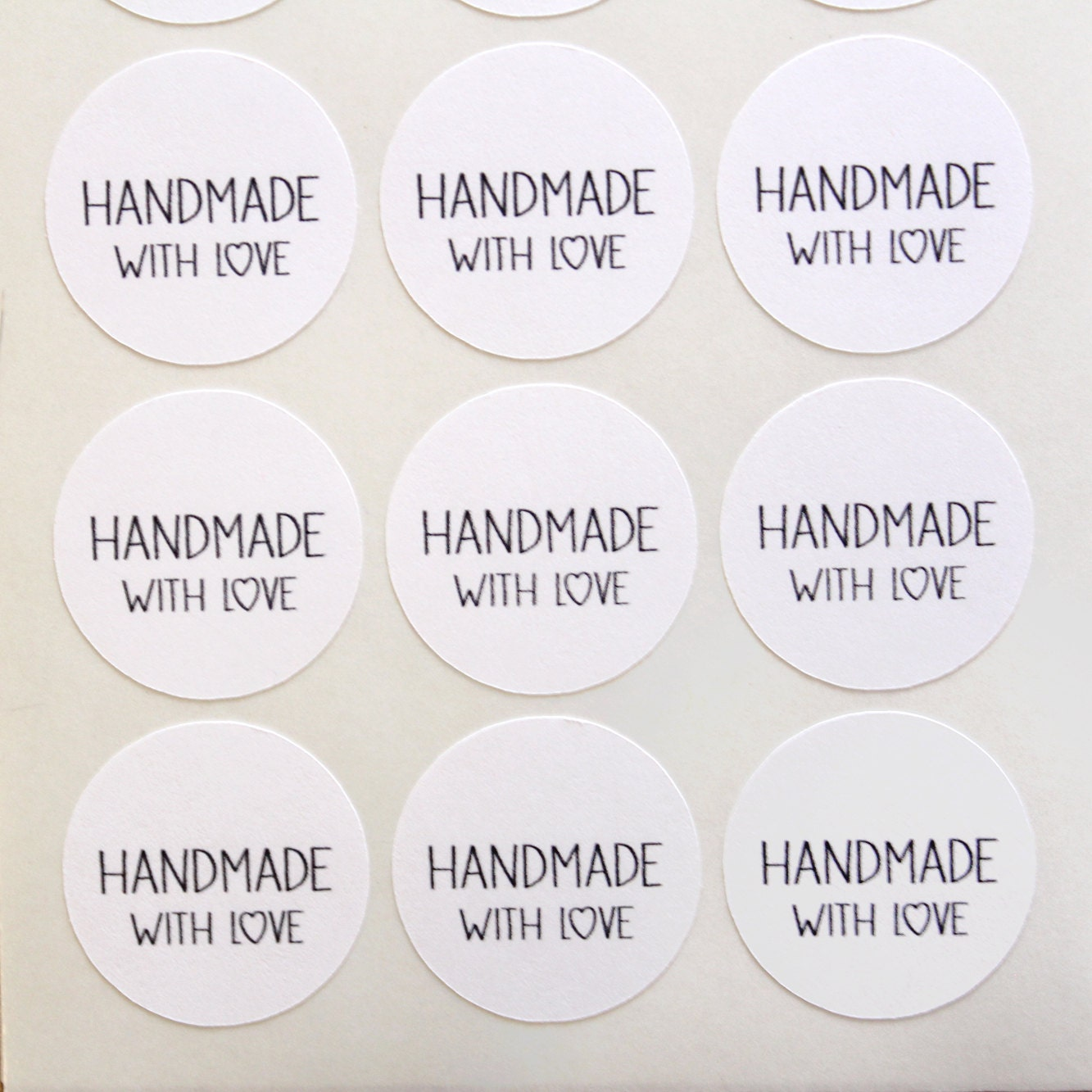 handmade with love sticker round handmade by nicepackagedesign