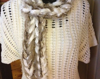 Fashion Scarf, Multiple Textured Yarns, Winter Whites, Taupe, Beige