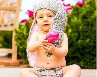 Crocheted Bunny Outfit - Crocheted Bunny Hat w/ Diaper cover - Baby Halloween Costume - Photo Prop