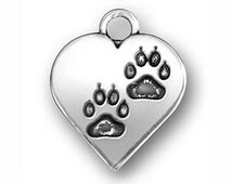 5 pcs - Silver Heart Paw Print Charm 17x14mm - Ships from Texas by TIJC - SP0612