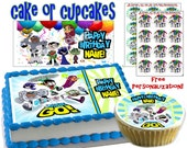 Personalized CAKE Teen Titans Go edible cake or cupcake toppers Birthday - Sugar icing frosting sheet picture photo decal sticker