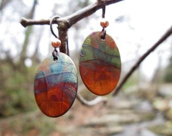 Flame painted Copper drop earrings