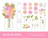 "Mason Jar Flowers Clip art: ""MASON JAR BOUQUET""  Rose, Ranunculus, Greenery, Foliage, Pink, Yellow, Peach"