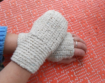 Fingerless Gloves Warm Natural Beige