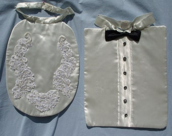 Here Come the Bride and Groom Bibs