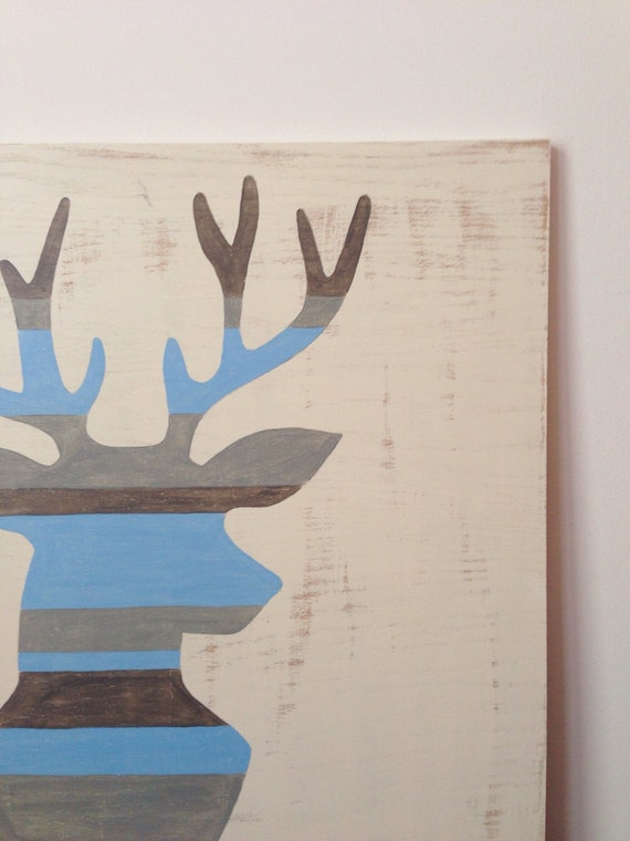 Large Hand Painted Deer Silhouette Woodland By Sweetbananasart