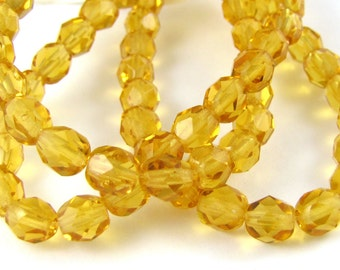 Med Topaz 6mm Facet Round Czech Glass Fire Polished Beads #155