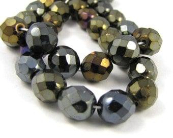 Brown Iris 8mm Facet Fire Polished Czech Glass Beads 20pc #1858