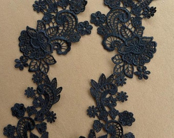 Black Venice Lace Applique Pair for Bridal, Hair Flowers, Jewelry Design, Sewing Supplies