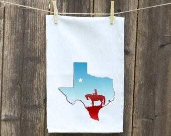 Flour Sack Towel-Tea-Dish-Hand-Kitchen-State of Texas with Cowboy and Horse