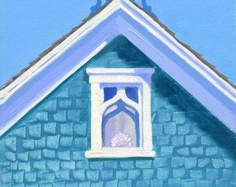 "Block Island coastal cottage - seaside art print, Victorian gable, aqua and blue, ""Sur le Mer"""
