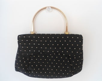 Black Satin Gold Dots Evening Handbag with Gold Metal Handle