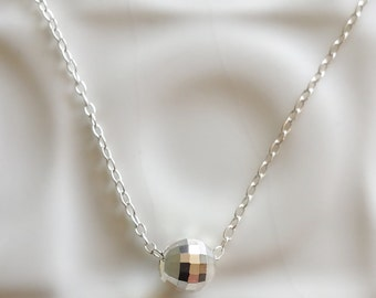 Tiny Silver ball necklace / Sterling silver necklace / Simple modern glitter ball / Silver pendant / Disco ball necklace