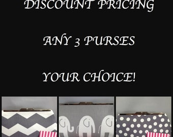 Discount Pricing for 3 Clutch Purses  (Your Choice); Savings, Multiple Clutch Purse, Bridal, Wedding, Bridesmaid, Special Occasion