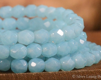 Milky Aqua Mamas (30) - Firepolished Czech Glass Bead - 6mm - Faceted Round