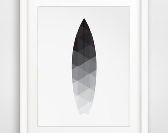 Surfboard Art, Beach Print, Surfboard Wall Print, Digital Black and White Beach Art, Beach Decor, Surfboard Artwork, Surfboard Decor