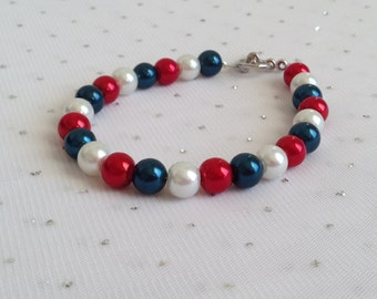 Red, White and Blue Bracelet, Bridesmaid Jewelry, Fourth of July Wedding, Bridesmaid Gift, 4th of July Jewelry, Pearl Bracelet