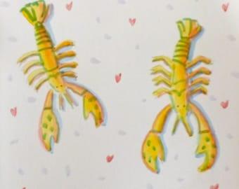 Handmade Lobster Love Greeting Card Signed by Artist Joe Ziegler  Original Watercolor