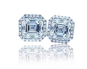 Ladies 1.20 Ctw Asscher Diamond Halo Earrings