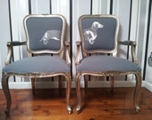 "French Louis Chairs Dachshund ""Sausage"" dog pair"