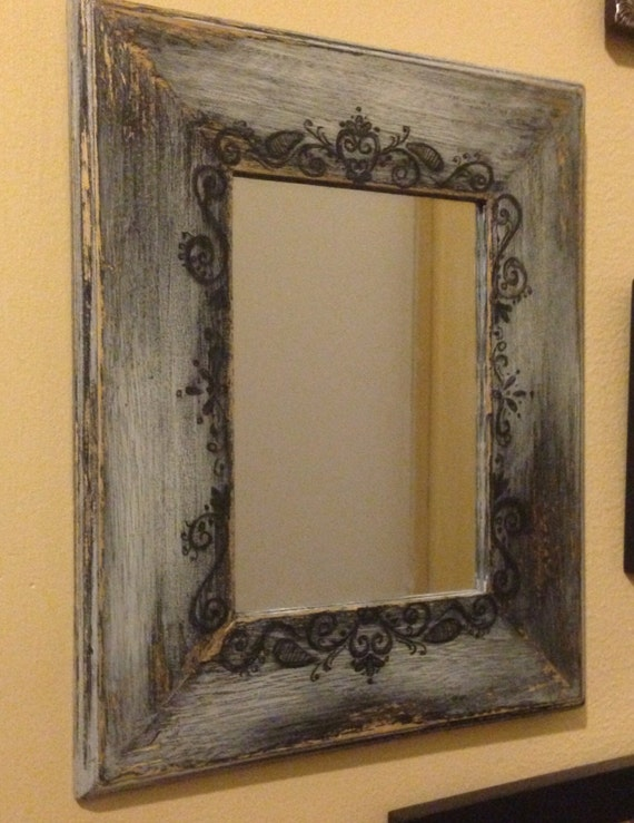 Hand Painted Rustic Mirror